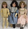 THREE LARGE GERMAN BISQUE HEAD DOLLS,