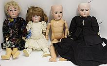 FOUR GERMAN BISQUE HEAD DOLLS TO INCLUDE