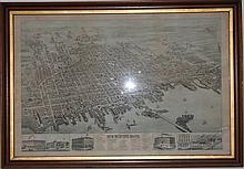 FRAMED 1876 LITHOGRAPH BIRDS EYE VIEW OF NEW