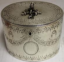 ENGLISH STERLING SILVER TEA CADDY, LONDON,