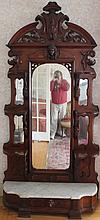 AMERICAN WALNUT ETAGERE CA 1880 WITH MIRRORED BACK