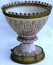 19TH C CONTINENTAL PORCELAIN URN WITH GILT BRASS