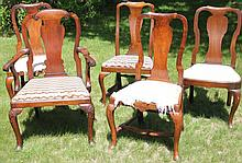 SET OF 5 ASSEMBLED QUEEN ANNE DINING CHAIRS