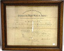 FRAMED DOCUMENT SIGNED BY PRESIDENT ABRAHAM