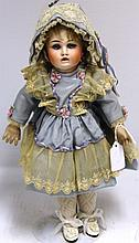 19TH C BISQUE HEAD DOLL, BLUE FIXED EYES,