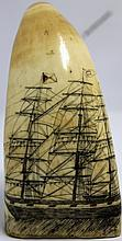 19TH C ANTIQUE SCRIMSHAWED WHALES TOOTH