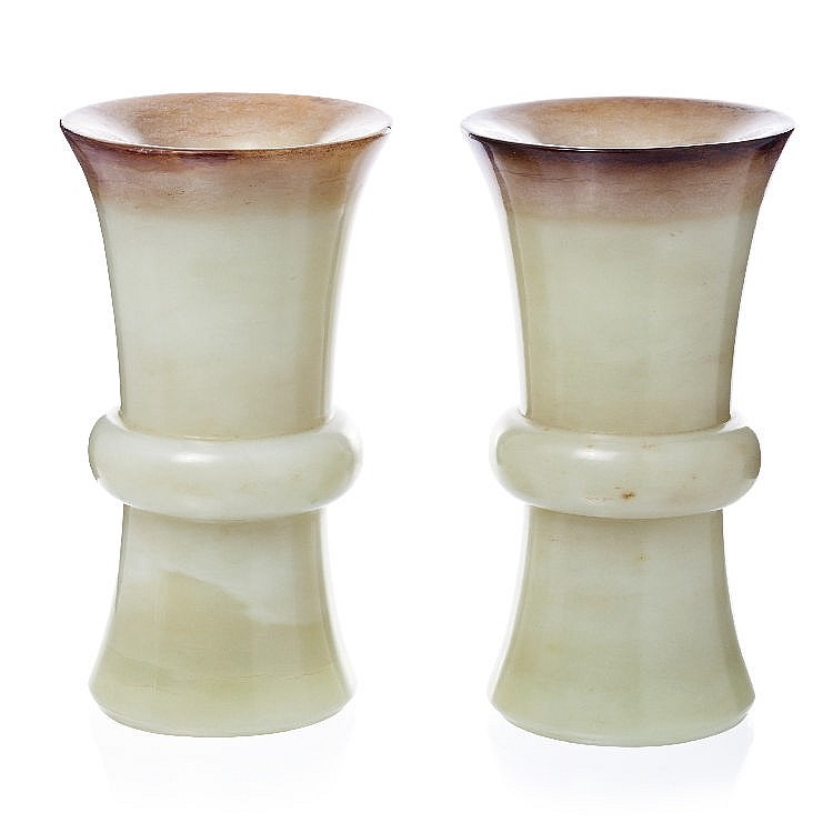 Pair of Gu vases in Chinese jade