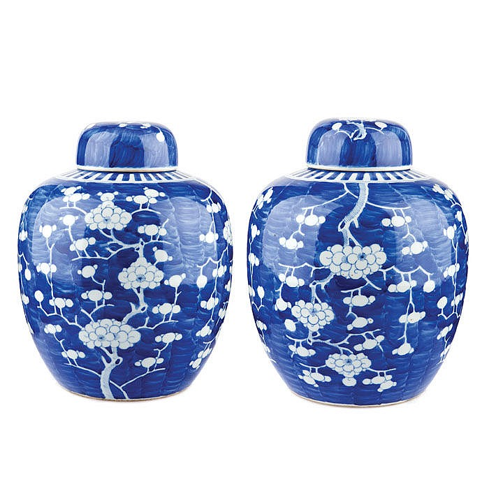 Pair of pots with lids in Chinese porcelain