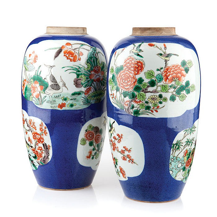 Pair of vases in Chinese porcelain