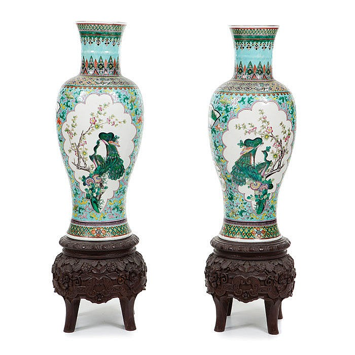 Pair of Large Vases Dayazhai in Chinese porcelain, Guangxu