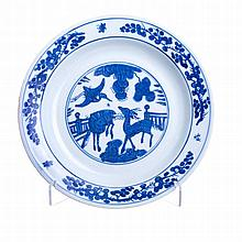 Plate 'stags' in Chinese porcelain, Wanli