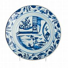 Plate 'landscape with figure' in Chinese porcelain, Kangxi