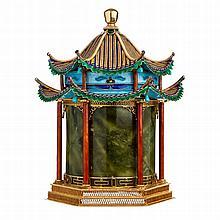 Box 'pagoda' in jade and Chinese silver