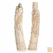 Pair of Chinese Immortals in ivory