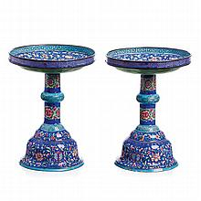 Pair of candle holders in Canton enamel