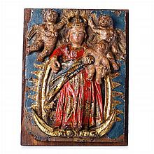 Crowned Virgin with Child and Angels', indo-portuguese plaque