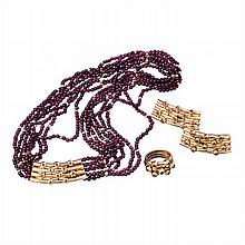 MARIA JOÃO BAHIA - Gold and rubis set (necklace, ring and earrings)