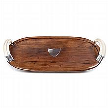 SOFIA FERREIRA - Exotic wood and silver tray