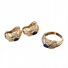 Gold,  small diamonds and sapphires set