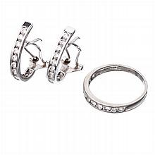 Earrings and ring in white gold