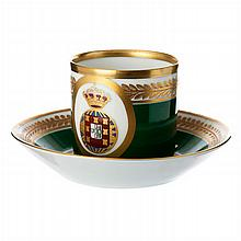 Teacup and saucer with coat of arms by Vista Alegre