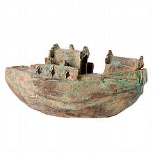 Lamparine with a 'boat' in terracotta
