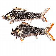 Pair of carps in Chinese silver and enamels
