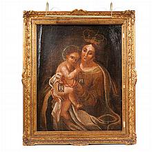 IBERIAN SCHOOL, 19th century - Our Lady with Child