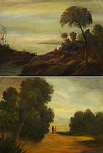ENGLISH SCHOOL, 19th century - Pair of 'Landscapes'