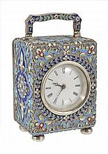 A CLOISONNE ENAMELLED SILVER CARRIAGE TIMEPIECE, PROBABLY RUSSIAN, EARLY 20TH CENTURY