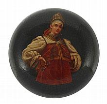A RUSSIAN LACQUER PILL BOX, LUKUTIN FACTORY, 19TH/20TH CENTURY