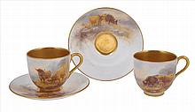 A PAIR OF ROYAL WORCESTER DEMI-TASSE CUPS AND SAUCERS, PAINTED BY HARRY STINTON, 1925/26