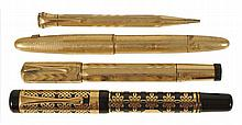 A WATERMAN 42 'IDEAL' SAFETY PEN WITH ITALIAN GOLD OVERLAY AND ACCOMPANYING PROPELLING PENCIL, MID 20TH CENTURY