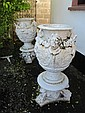 Pair of Regency Cast Iron Urns with Mask and Vine