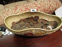 Quantity of Various Coins in Vase