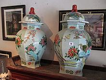 Pair of Oriental Baluster Form Vases with Fo Dog