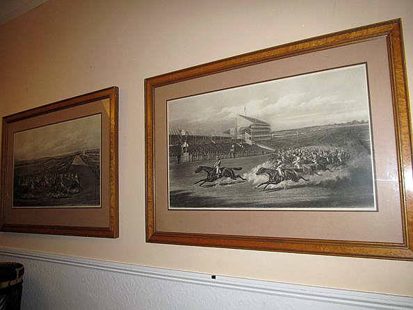 Pair of Antique Maple Framed Engravings of Racing