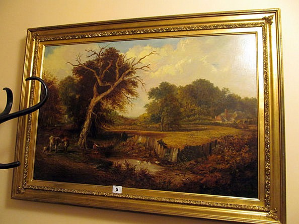 Victorian School Cattle Driver by Pond Oil on