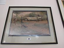 Charles Sykes Pair of Antique Lithographs Shooting