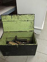 Antique Wooden Hinged Box of Various Tools