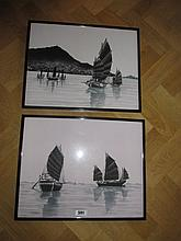 Pair of Chinese Scenes Depicting Boat Scenes