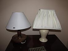 Lot of Two Side Lamps One Cream Porcelain One