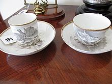 Pair of Antique Spode Fine Porcelain Teacups and