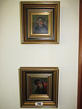 Two Antique Dutch School Portraits Oil on Tin