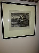 Framed Hassen Etching Man on Horseback 1849 D B