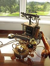 Antique Desk Top Telephone Brass Mounted