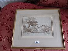 J Harden Early Victorian Watercolour Irish Village