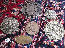 Assorted Antique Brass and Copper Safe Plates and