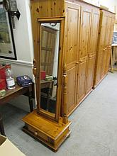 Modern Pine Cheval Mirror with Drawer to Base
