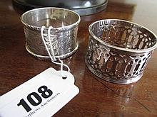 Two Antique Solid Silver Napkin Ring with
